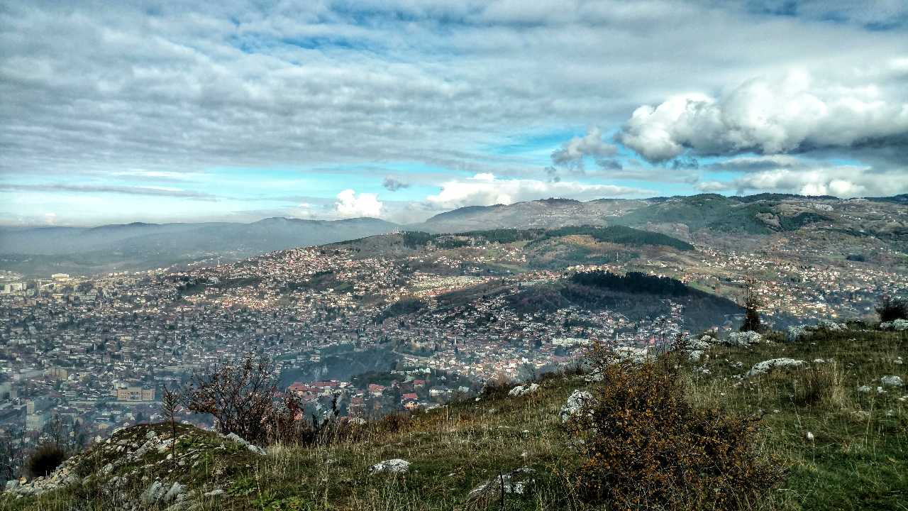 Looking back on November hiking Trebević sarajevo cityview
